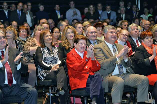 An enthusiastic crowd applauds during a celebration of the selection of Schenectady as the Capital Region site for the Rivers Casino at Mohawk Harbor Thursday, Dec. 18, 2014, in the GE Theatre at Proctors in Schenectady, NY.  (John Carl D'Annibale / Times Union) Photo: John Carl D'Annibale / 00029921A