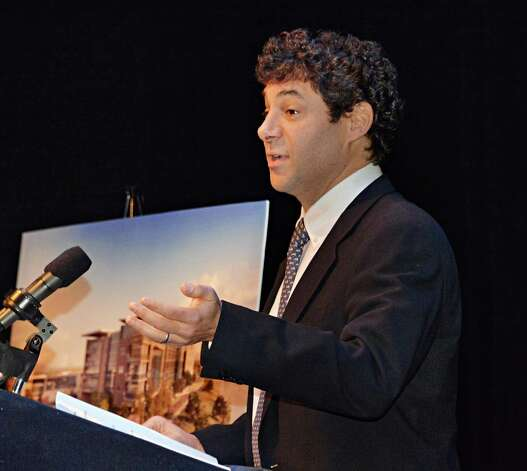 Greg Carlin of Rush Street Gaming speaks during a celebration of the selection of Schenectady as the Capital Region site for the Rivers Casino at Mohawk Harbor Thursday, Dec. 18, 2014, in the GE Theatre at Proctors in Schenectady, N.Y.  (John Carl D'Annibale / Times Union) Photo: John Carl D'Annibale / 00029921A