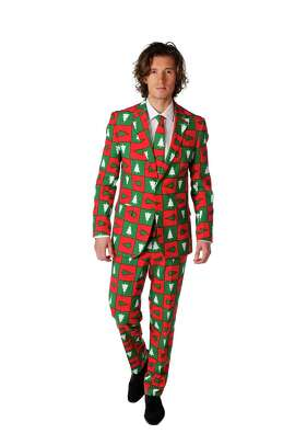 "Dutch fashion brand Opposuits creates whimsical suits for men out of quirky patterned material that is meant to induce a laugh, and meant for men who don't take themselves too seriously. Suits retail for $99.95 each at www.opposuits.com. This is called the ""Treemendous."""