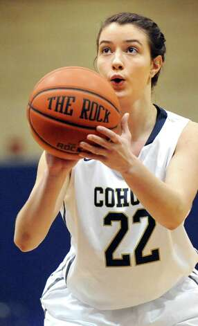 Cohoes' Nerea Brajac shoots from the free throw line during their basketball game against Fonda on Thursday Dec. 18, 2014, at Cohoes High in Cohoes, N.Y. (Cindy Schultz / Times Union) Photo: Cindy Schultz / 00029920A