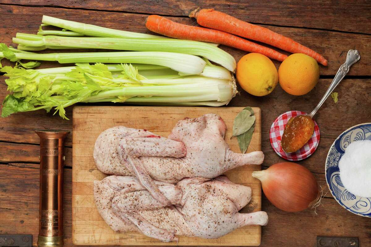 In this easy dish, a halved duck is rubbed with marmalade, then cooked on top of an array of vegetables.
