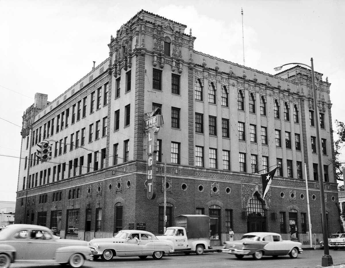 A view of the San Antonio Light building in the 1950s. By that time, the landmark neon sign had been added to the Broadway side of the structure.