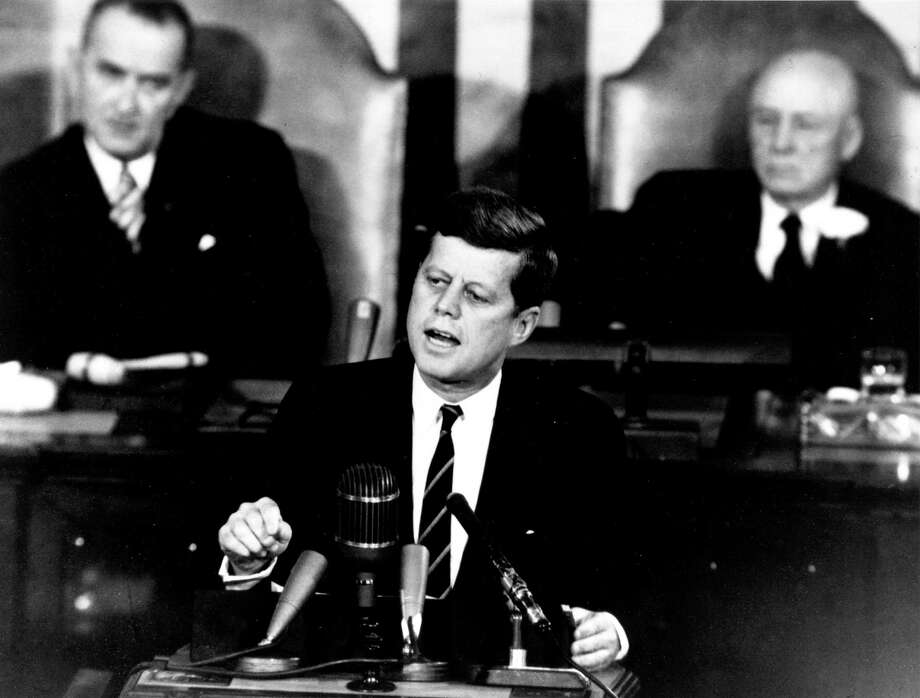On May 25, 1961, President John F. Kennedy announced before a special joint session of Congress the dramatic and ambitious goal of sending an American safely to the Moon before the end of the decade. Photo: NASA / NASA