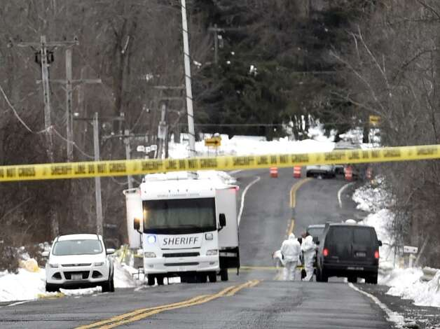 Police remained at a trailer on Thacher Park Road in Knox Friday morning while the investigated the killing of 5-year-old Kenneth White who was found dead near the home where he lived. (Skip Dickstein / Times Union)