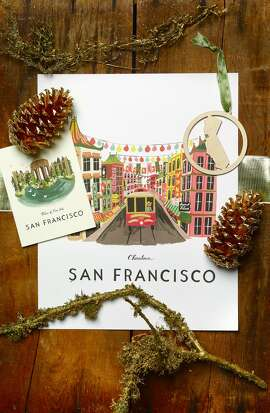 Lavish: San Francisco pride: Rifle Paper Co. Palace of Fine Arts box set of 8 cards ($20) and Chinatown 11x14 poster  ($42), Lavish, 508 Hayes St., www.riflepaperco.com; Kimball Prints laser-cut CA heart ornament, $14, Lavish, 508 Hayes St., www.carolynkimball.com