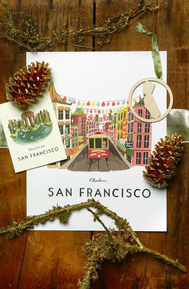 Lavish: San Francisco pride: Rifle Paper Co. Palace of Fine Arts box set of 8 cards ($20) and Chinatown 11x14 poster  ($42), Lavish, 508 Hayes St., www.riflepaperco.com; Kimball Prints laser-cut CA heart ornament, $14, Lavish, 508 Hayes St., www.carolynkimball.com Photo: Russell Yip, The Chronicle