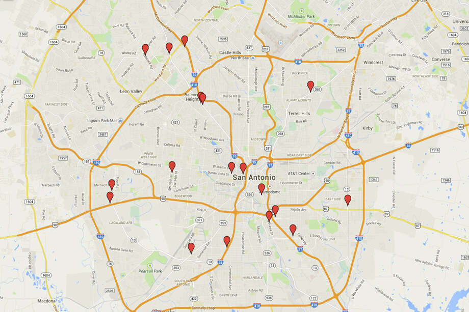 The San Antonio restaurants with 14 or more demerits from restaurant inspections by the San Antonio Food and Environmental Health Services division the second week of December 2014. Photo: Google Street View/Maps