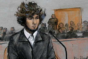 In this courtroom sketch, Boston Marathon bombing suspect Dzhokhar Tsarnaev is depicted sitting in federal court in Boston Thursday, Dec. 18, 2014, for a final hearing before his trial begins in January. Tsarnaev is charged with the April 2013 attack that killed three people and injured more than 260. He could face the death penalty if convicted.