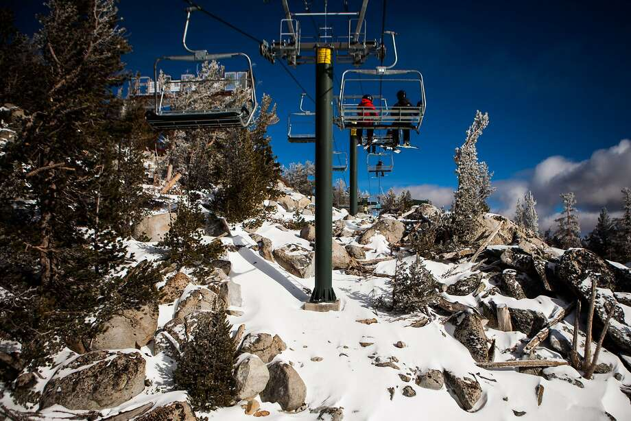 There's not enough natural snow to ski below the lift at Heavenly Ski Resort in South Lake Tahoe, California, December 17, 2014. Despite above average precipitation in Northern California, Tahoe ski resorts are still struggling to cover enough runs with skiable snow. Photo: Max Whittaker/Prime, Special To The Chronicle