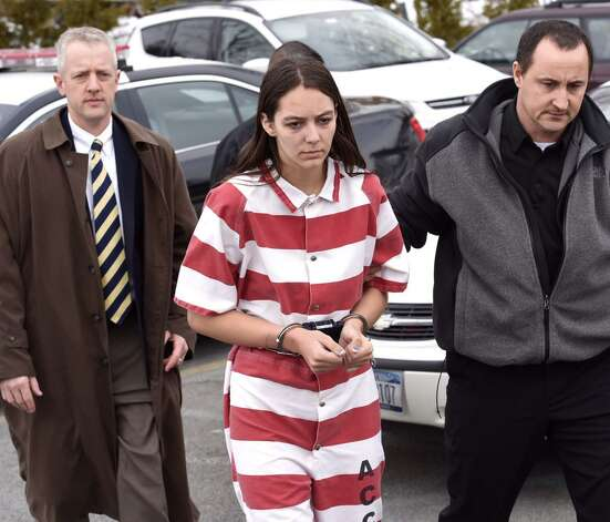 Tiffany VanAlstyne, 19, arrives at Knox Town Court on Friday to face a second-degree murder charge for allegedly killing her 5-year-old cousin, Kenneth White. (Skip Dickstein / Times Union)