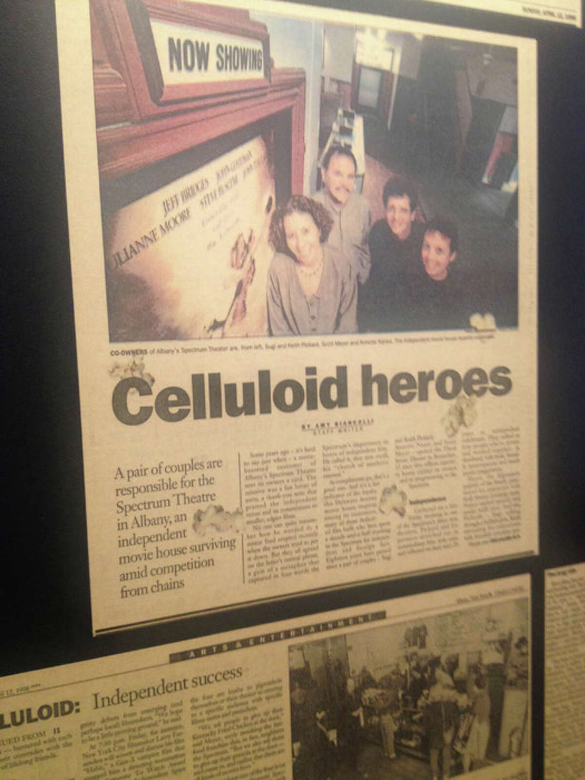 Past newspaper clippings about the Spectrum Theater