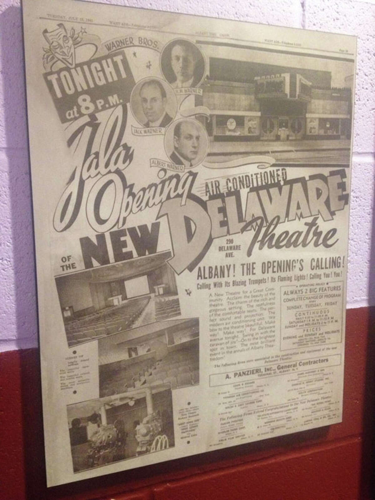 Past advertisements for the Delaware Theatre, now the Spectrum Theater