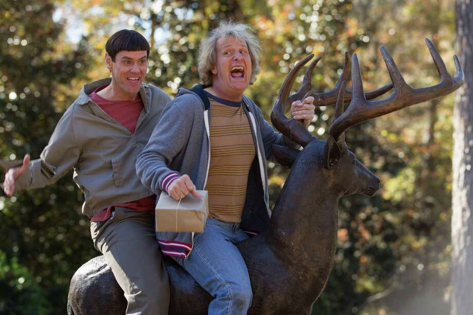 """Dumb and Dumber To""WorstWhat happened to the Farrelly Brothers? It's as if the Comedy Fairy returned after 10 years to take back the jokes. In this sequel to the original (and very funny) ""Dumb and Dumber,"" you could actually feel the flop sweat on Jim Carrey (left) and Jeff Daniel as they flogged material for what turned out to be silent movie audiences. This was bad for Daniels, but even worse for Carrey, who is a comic actor and is supposed to know the difference between funny and painful. Sure, his film career will recover, just as someone might recover from hitting himself in the face with a hammer. The trick is not doing that in the first place. Photo: Universal Pictures / Universal Pictures"