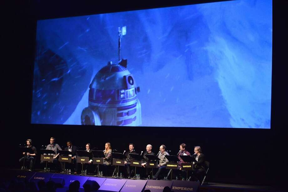 "Jason Reitman, Stephen Merchant, Dennis Haysbert, Ellen Page, Jessica Alba, Aaron Paul, J.K. Simmons, Kevin Pollack, Rainn Wilson and Mark Hamill perform a live reading at the Film Independent Live Read: ""The Empire Strikes Back"" at Ace Hotel on December 18, 2014 in Los Angeles, California. Photo: Araya Diaz, WireImage"