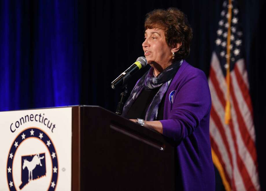 Chairwoman of the Connecticut Democratic Party Nancy DiNardo speaks during the Democratic Election Night gathering at the Society Room in downtown Hartford, Conn. Tuesday, Nov. 4, 2014. Photo: Tyler Sizemore / Greenwich Time