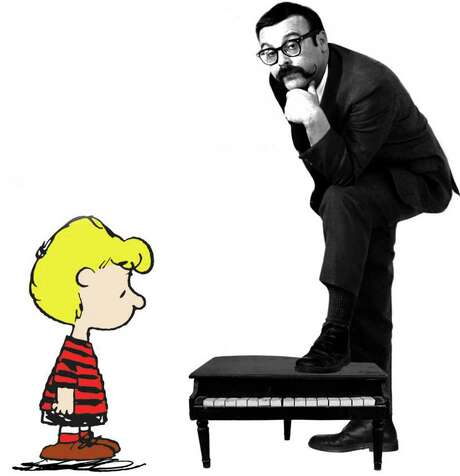 "Schroeder from ""Peanuts"" with pianist and composer Vince Guaraldi. Photo: Fantasy Records"