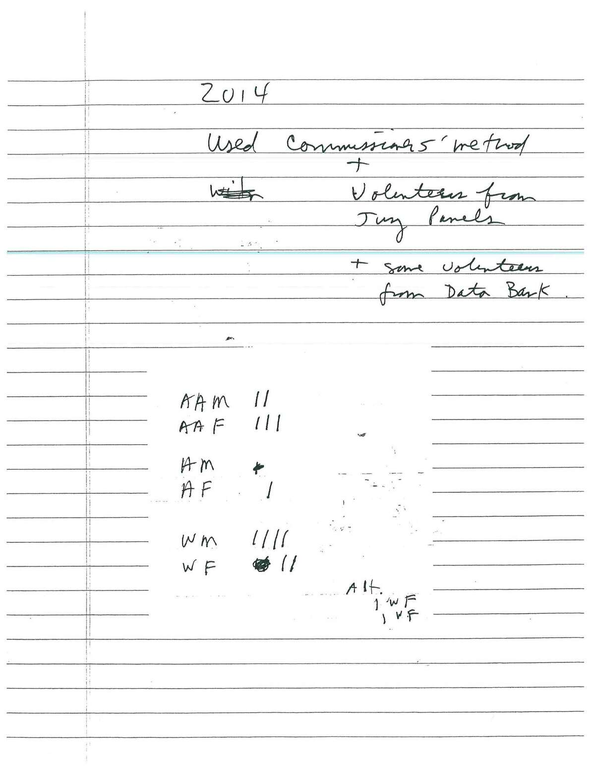Some courts provided handwritten notes tracking the racial makeup of their juries.