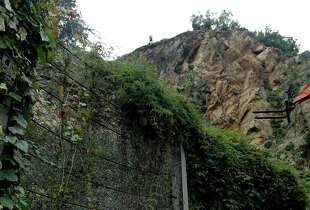 The San Francisco Public Works department begins the Telegraph Hill Rock Slope improvement, a six-month project to stabilize the crumbling cliff below Coit Tower in San Francisco, Calif. on Tuesday Dec. 9, 2014.