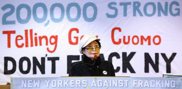 Yoko Ono, representing Artists Against Fracking joined other activist groups during a press conference Jan. 11, 2013 in Albany, N.Y.     (Skip Dickstein/Times Union) Photo: SKIP DICKSTEIN / 00020738A