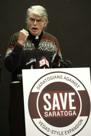 Rev. John A. (Jay) Ekman speaks out against expansion of Vegas-style casinos in the city during an assembly Dec. 16, 2013 in Saratoga Springs, N.Y.     (Skip Dickstein / Times Union) Photo: Skip Dickstein / 00025048A