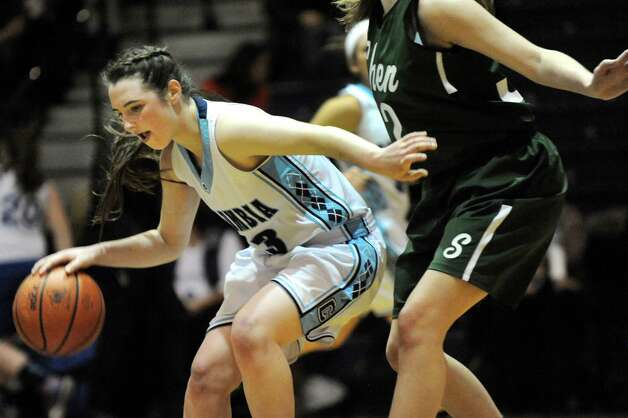Columbia's Sarah Jaromin controls the ball during their basketball game against Shenendehowa on Friday Dec. 19, 2014, at Columbia High in East Greenbush, N.Y. (Cindy Schultz / Times Union) Photo: Cindy Schultz / 00029933A