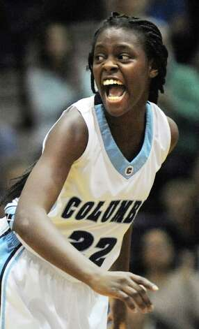 Columbia's Nastasja Johnston reacts to a play during their basketball game against Shenendehowa on Friday Dec. 19, 2014, at Columbia High in East Greenbush, N.Y. (Cindy Schultz / Times Union) Photo: Cindy Schultz / 00029933A