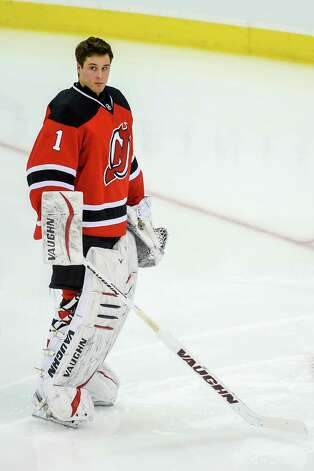 NEWARK, NJ - DECEMBER 09: Keith Kinkaid #1 of the New Jersey Devils looks on before a game against the Chicago Blackhawks at the Prudential Center on December 9, 2014 in Newark, New Jersey.  (Photo by Alex Goodlett/Getty Images) ORG XMIT: 507048175 Photo: Alex Goodlett / 2014 Getty Images