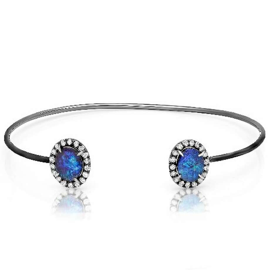 Boulder opal and diamond wire cuff set in 18K white gold with black rhodium $6,675 Photo: Courtesy Of Kimberly McDonald
