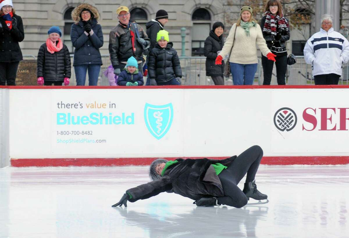 Johnny Weir, a three-time U.S. champion, two-time Olympian, and World medalist in figure skating visited the Empire State Plaza ice rink on Saturday Dec. 20, 2014 in Albany, N.Y. (Michael P. Farrell/Times Union)