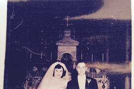 Mary Giordano DiGuiseppi at her wedding to Anthony DiGuiseppi at St. Finbar's RC church, Brooklyn N.Y.