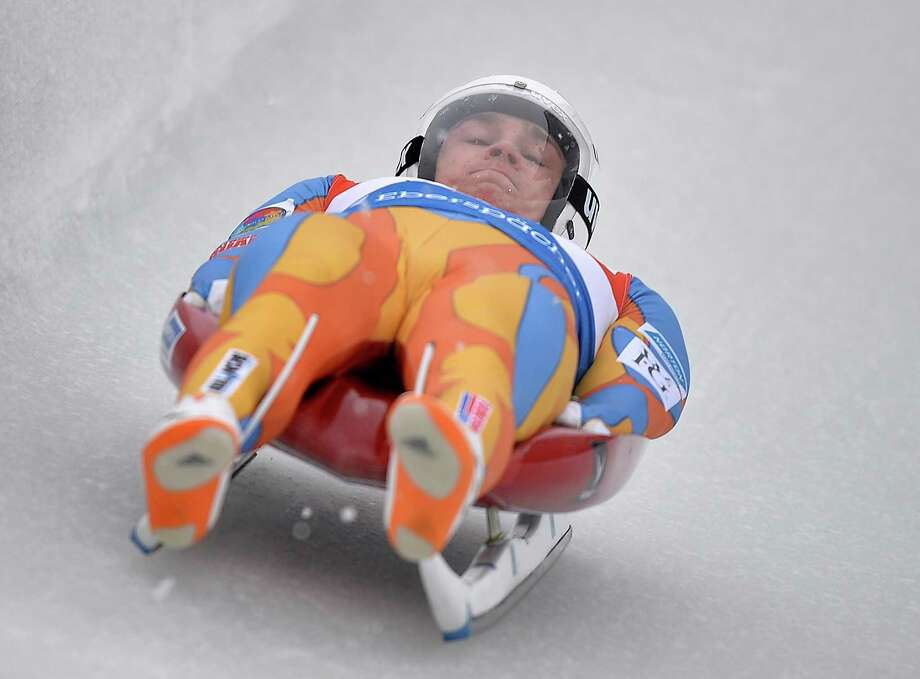 Tucker West of the USA speeds down the track  during the men's luge World Cup race in Winterberg, Germany, Saturday, Nov. 30, 2013. (AP Photo/Martin Meissner) ORG XMIT: MME126 Photo: Martin Meissner / AP