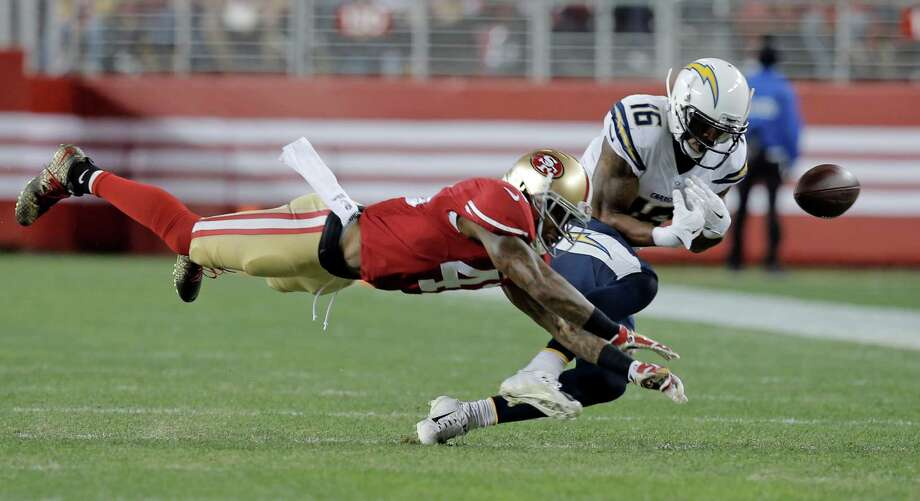 Antoine Bethea, 41 breaks up a pass to San Diego's Seyi Aijrotutu, 16 in the second quarter,  as the San Francisco 49ers take on the San Diego Chargers at Levi's Stadium in Santa Clara, Calif., on Saturday Dec. 20, 2014. Photo: Michael Macor / The Chronicle / ONLINE_YES