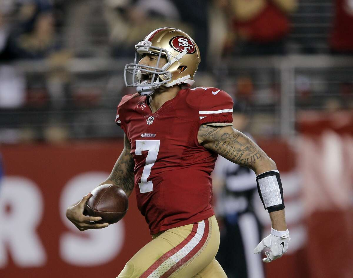 13. Colin Kaepernick's 90-yard touchdown run vs. the Chargers (December 20, 2014) During the third quarter of the team's Week 16 game against the then-San Diego Chargers, Kaepernick escaped pressure near his own endzone and ended up scampering all the way into the Chargers' endzone. The 90-yard run was the longest of Kaepernick's career, and the second-longest run by a quarterback in NFL history.