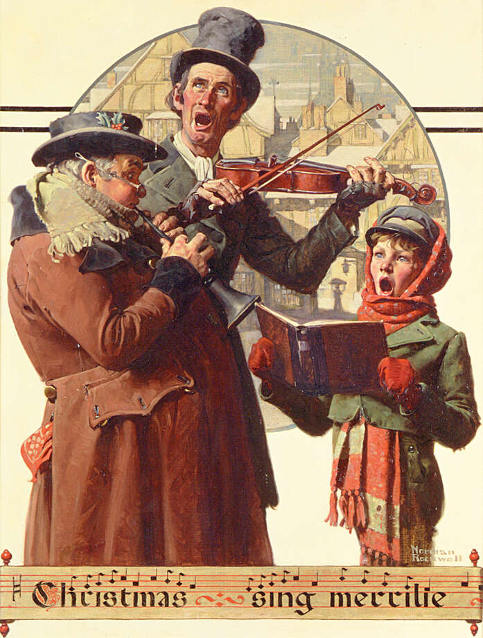 Norman Rockwell (1894-1978), Christmas Trio, 1923. Oil on canvas. Cover illustration for The Saturday Evening Post, December 8, 1923. (Norman Rockwell Museum Collections)