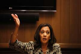 California Attorney General Kamala Harris addreses The Chronicle's editorial board at the newspaper's offices on September 18, 2014 in San Franicsco, Calif.