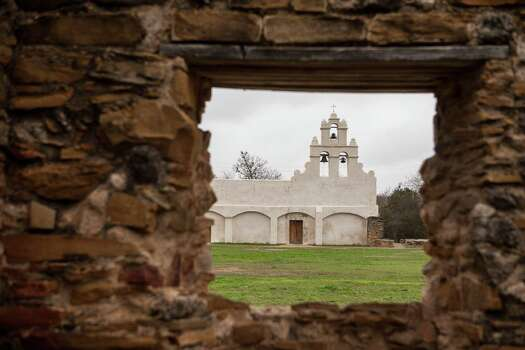 A view of the Catholic church at Mission San Juan as seen from inside the unfinished Spanish-build church located in south San Antonio in Missions National Historic Park on Dec. 21st, 2014. Photo: Spencer Selvidge For The San Ant / Spencer Selvidge / Copyright 2014, Spencer Selvidge for the San Antonio Express-News
