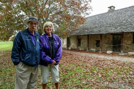 "Docent-volunteers, Ernest and Ginny Barnes at Mission San Juan, located in south San Antonio in Missions National Historic Park. The Barnes started part-time volunteering in February and ""are very much into the history of the missions and the Spanish-period."" They were asked to come back to volunteer more often when one of the park's rangers died recently on Dec. 21st, 2014. Photo: Spencer Selvidge For The San Ant / Spencer Selvidge / Copyright 2014, Spencer Selvidge for the San Antonio Express-News"