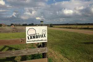 A sign along Kelley Road, off Highway 6, protests the planned landfill in Waller County. A jury found officials illegally discussed the project in secret.