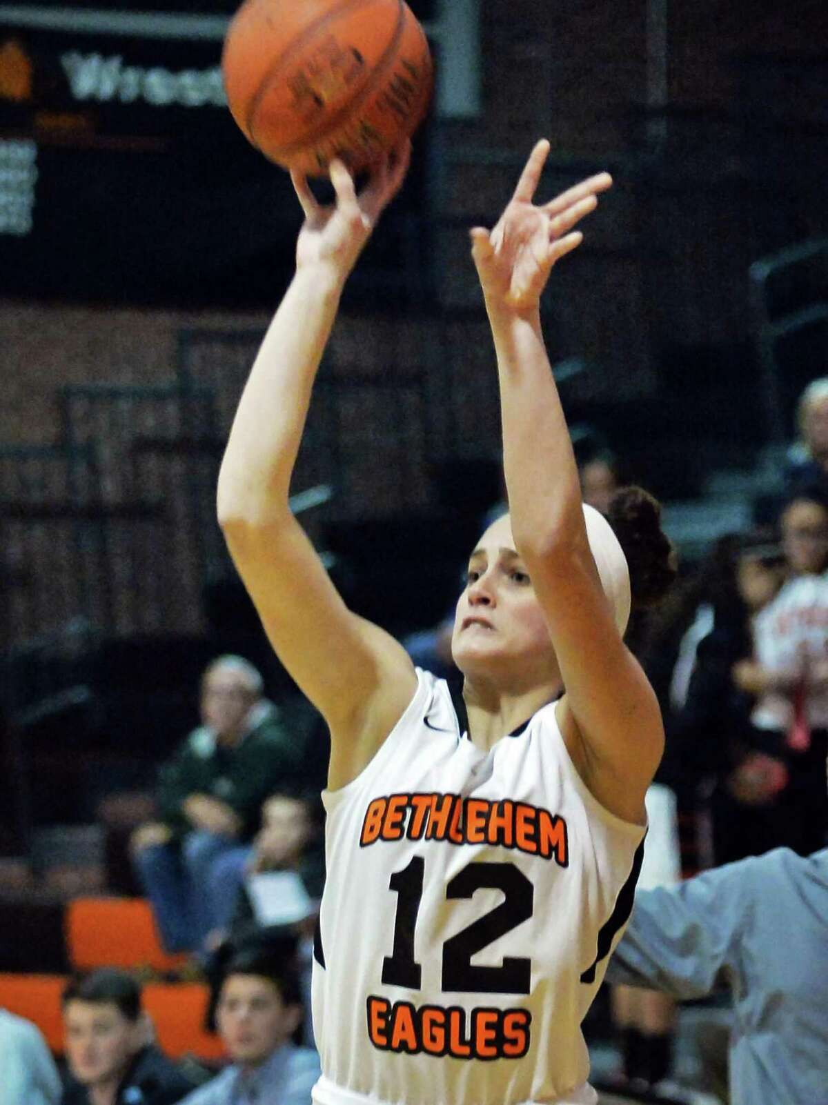 Bethlehem junior point guard Jenna Giacone during Friday's game against Shenendehowa High Dec. 12, 2014, in Delmar, NY. (John Carl D'Annibale / Times Union)