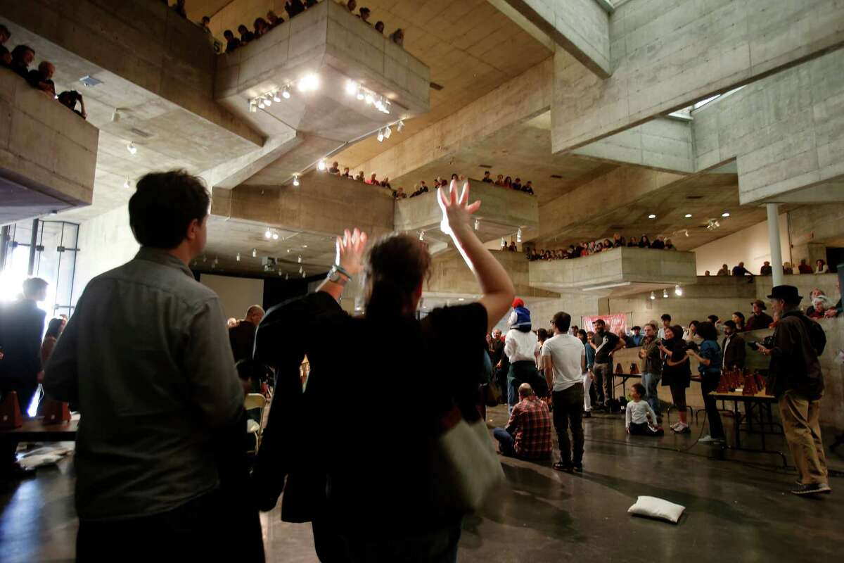 People danced as ceremonies celebrating the space were held. The UC Berkeley Art Museum is closing its doors on Bancroft Way and held a ceremony Sunday December 21, 2014. They will reopen late next year at a new sits on Oxford and Center Streets.