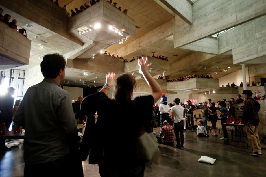 People danced as ceremonies celebrating the space were held. The UC Berkeley Art Museum is closing its doors on Bancroft Way and held a ceremony Sunday December 21, 2014. They will reopen late next year at a new sits on Oxford and Center Streets. Photo: Brant Ward / The Chronicle / ONLINE_YES