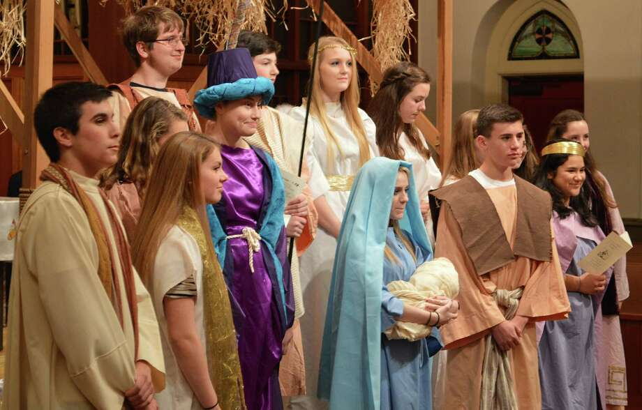 The cast of the Nativity pageant at St. John's Catholic Church. Photo: Jarret Liotta / Darien News
