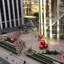 The best Financial District display, year in and year out, is the plaza outside 101 California St. Cascading poinsettias? Big red ornaments? What's not to like?