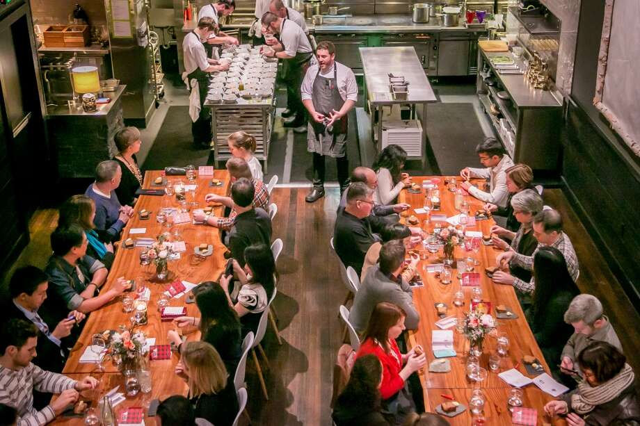 Chef David Barzelay talks with diners before dinner at Lazy Bear in San Francisco, Calif. on December 13th, 2014. Photo: Special To The Chronicle