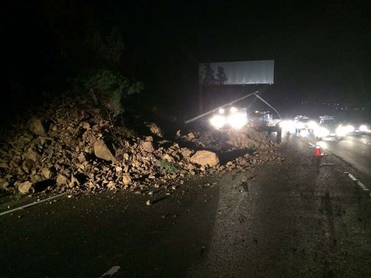 A rock and mudslide blocked southbound lanes of Highway 101 in Marin County early Monday morning.