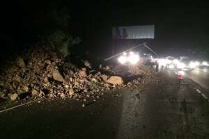 Landslide closes southbound lanes of Hwy. 101 in Marin County - Photo