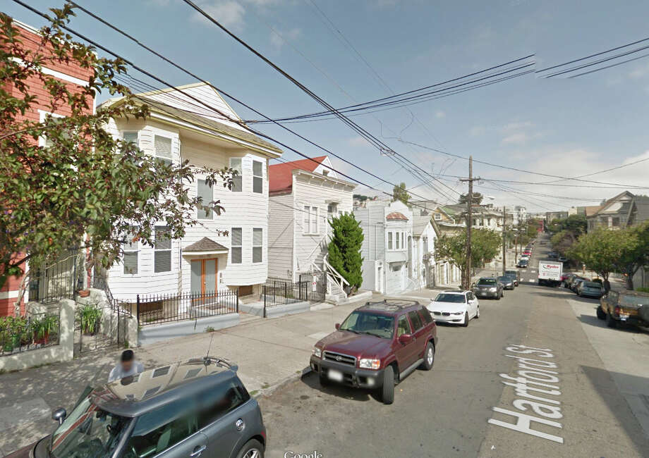 Firefighters responded to a report of a car fire at 126-132 Hartford St. in San Francisco on Sunday morning. Photo: Google Maps