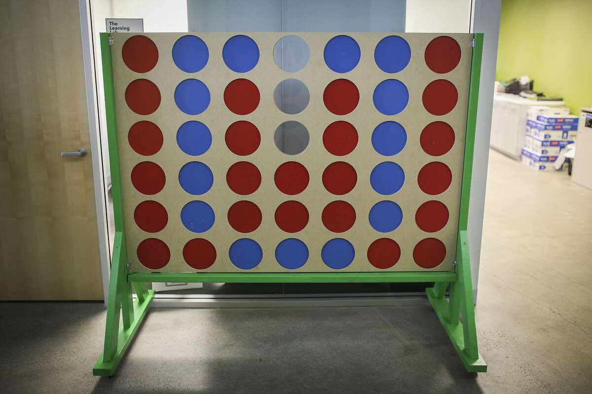 An extra large connect four board built by the Udemy staff sits in the hallway of the Udemy office in San Francisco on November 25th 2014.