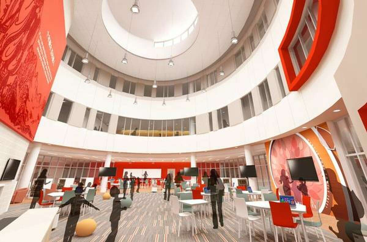 This is an architect's rendering of the common area of the Chinese Mandarin Language Immersion School under construction in the Galleria area. This is an architect's rendering of the common area of the Chinese Mandarin Language Immersion School under construction in the Galleria area.
