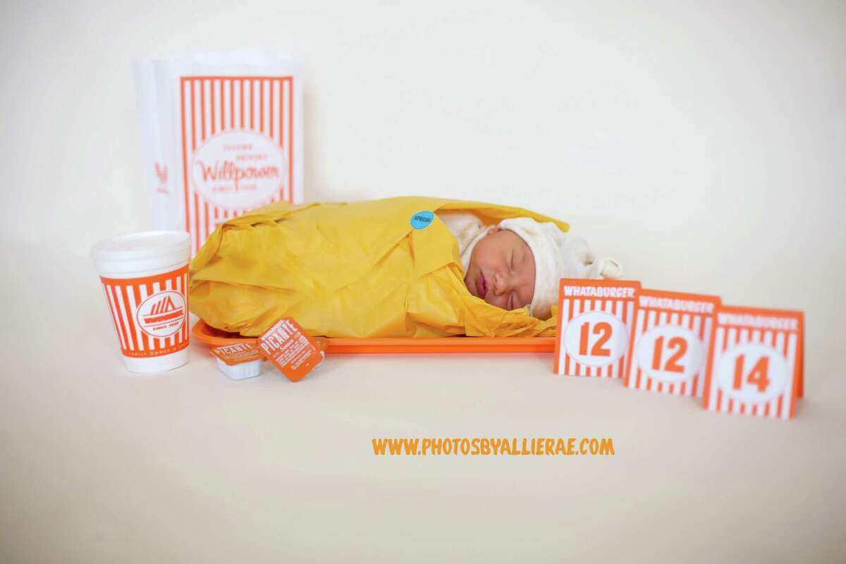One Texas couple showed their passion for Whataburger by transforming their newborn into a taquito. The baby, Basil Riddle, is swaddled in a yellow taquito wrapper and laying on an orange tray, surrounded with picante sauce and the iconic table tents with numbers of the baby's birthday.